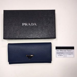 Prada Bluette Saffiano Triang wallet